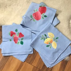 💎 Lot of 6 Country Chic Blue Fruit Cloth Napkins